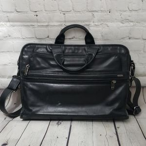 TUMI BLACK LEATHER TRAVEL LAPTOP BAG